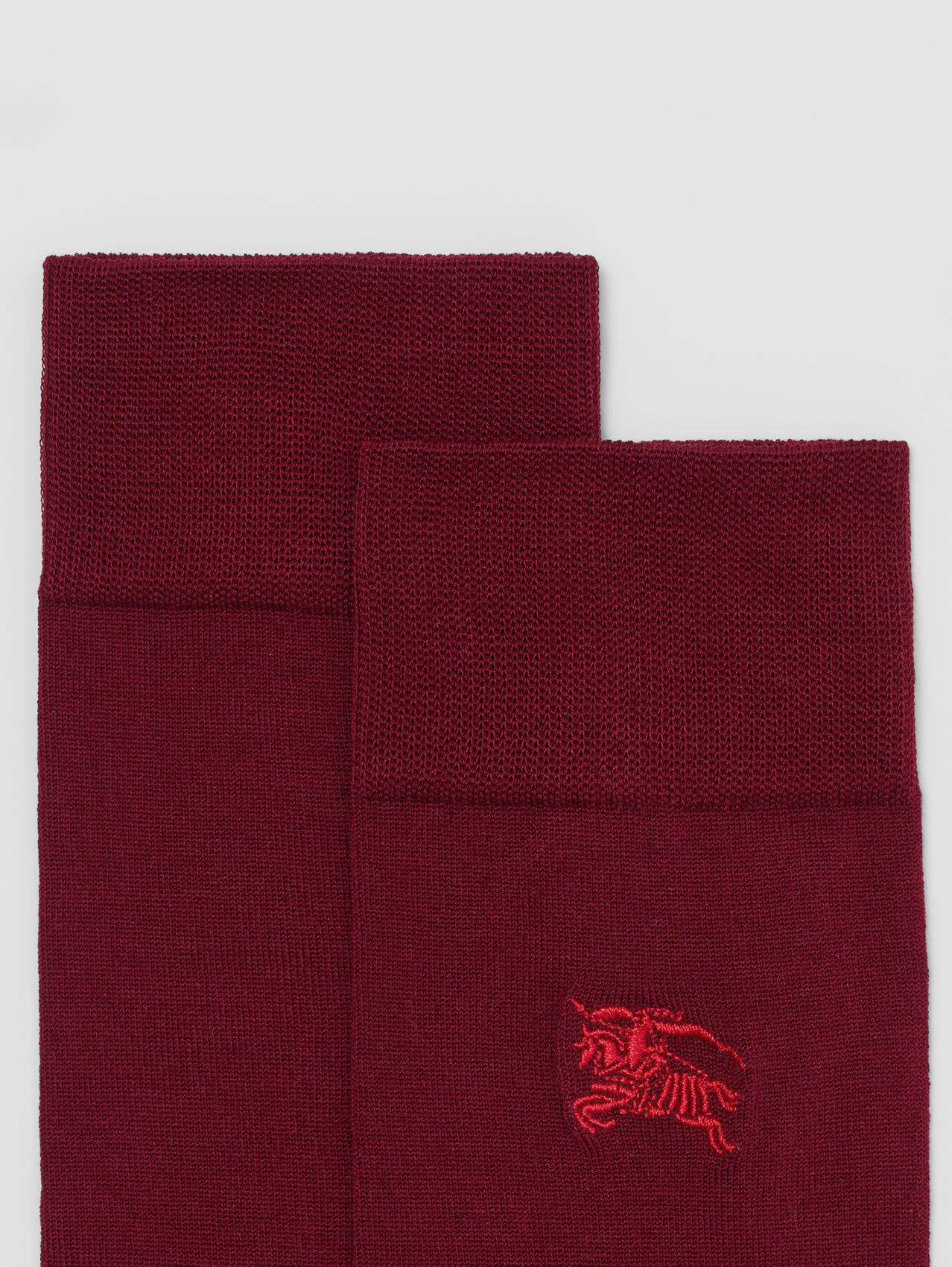 Embroidered EKD Cotton Blend Socks in Oxblood