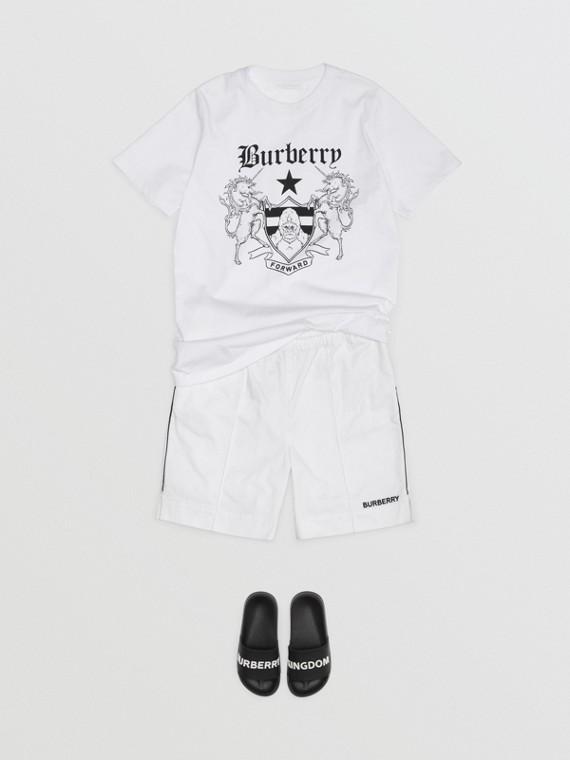混合徽標印花棉質 T 恤 (白色)