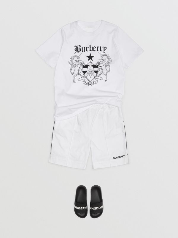 Montage Print Cotton T-shirt in White | Burberry - cell image 2