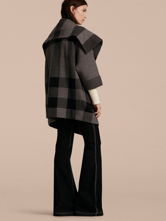 Mid grey melange Oversize Stretch Wool Cashmere Wide Collar Coat Mid Grey Melange - cell image 2