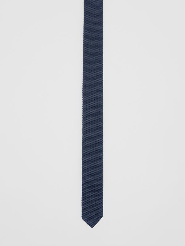 Slim Cut Knit Silk Tie in Navy - Men | Burberry United Kingdom - cell image 2