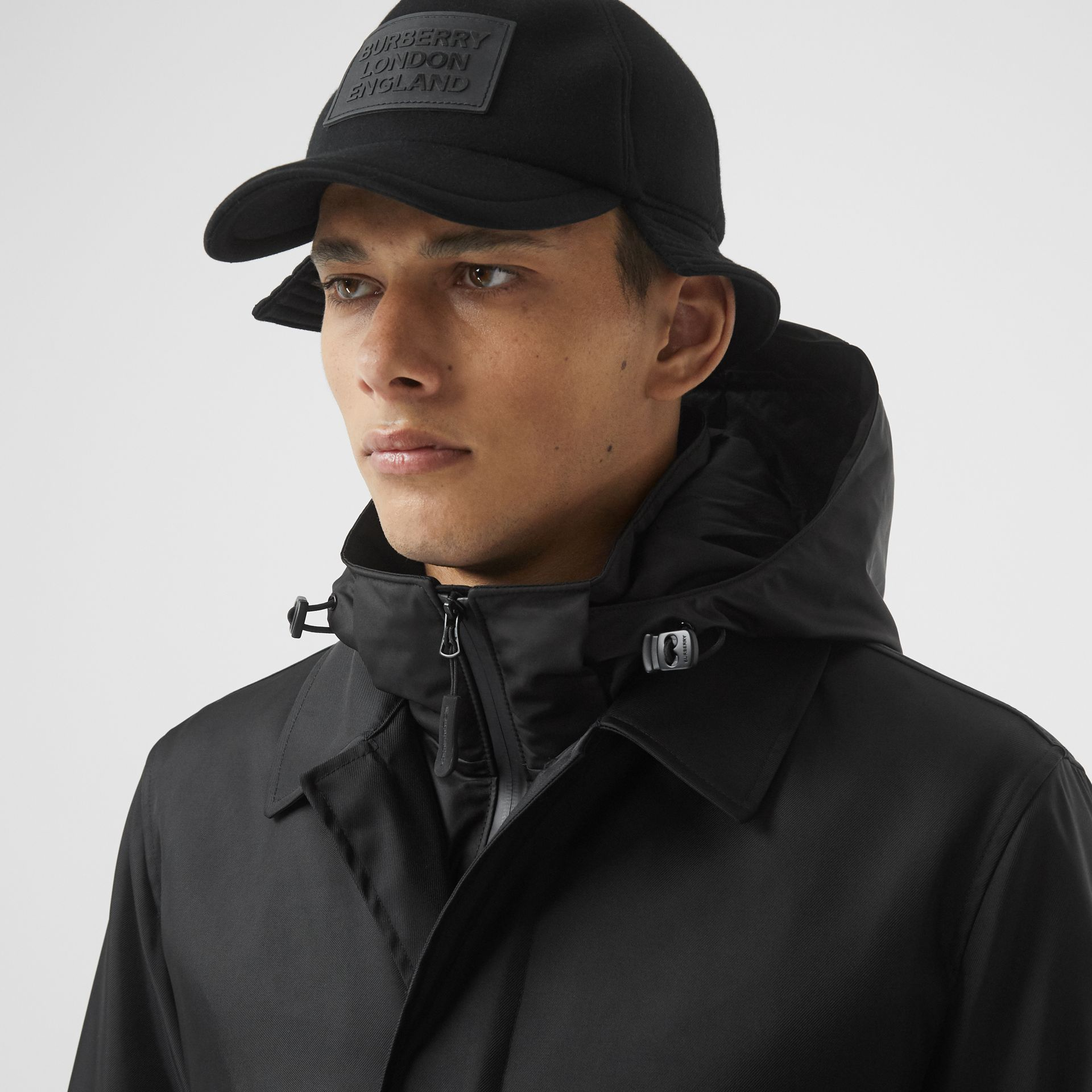 Nylon Car Coat with Detachable Hooded Warmer in Black - Men | Burberry United Kingdom - gallery image 1