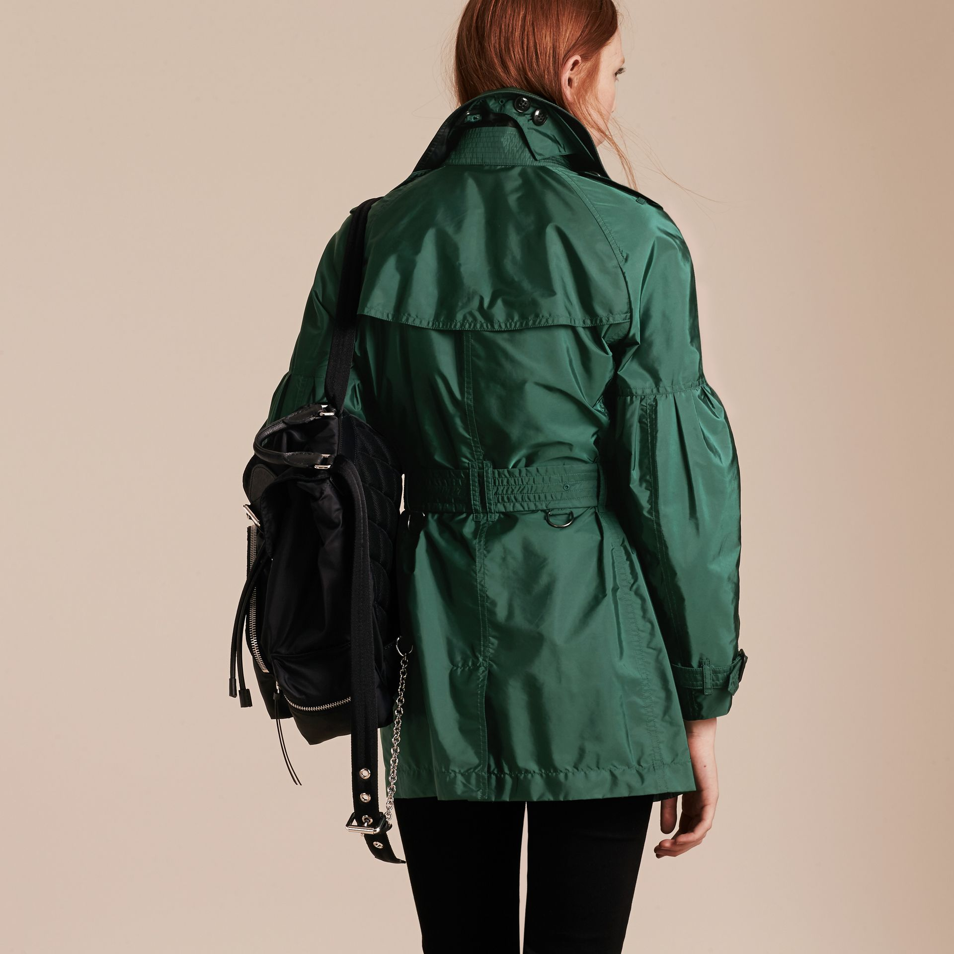 Packaway Trench Coat with Bell Sleeves in Deep Bottle Green - gallery image 3