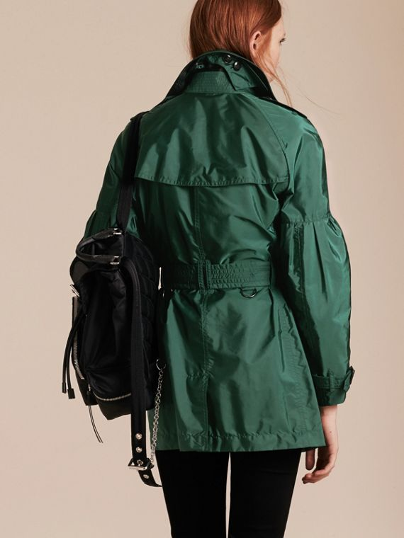 Packaway Trench Coat with Bell Sleeves in Deep Bottle Green - cell image 2