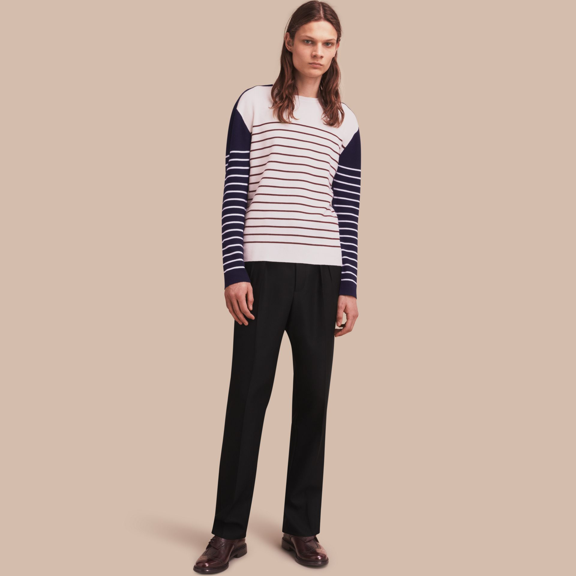Contrast Stripe Cashmere Blend Sweater in Navy - Men | Burberry - gallery image 1