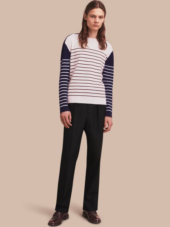 Contrast Stripe Cashmere Blend Sweater