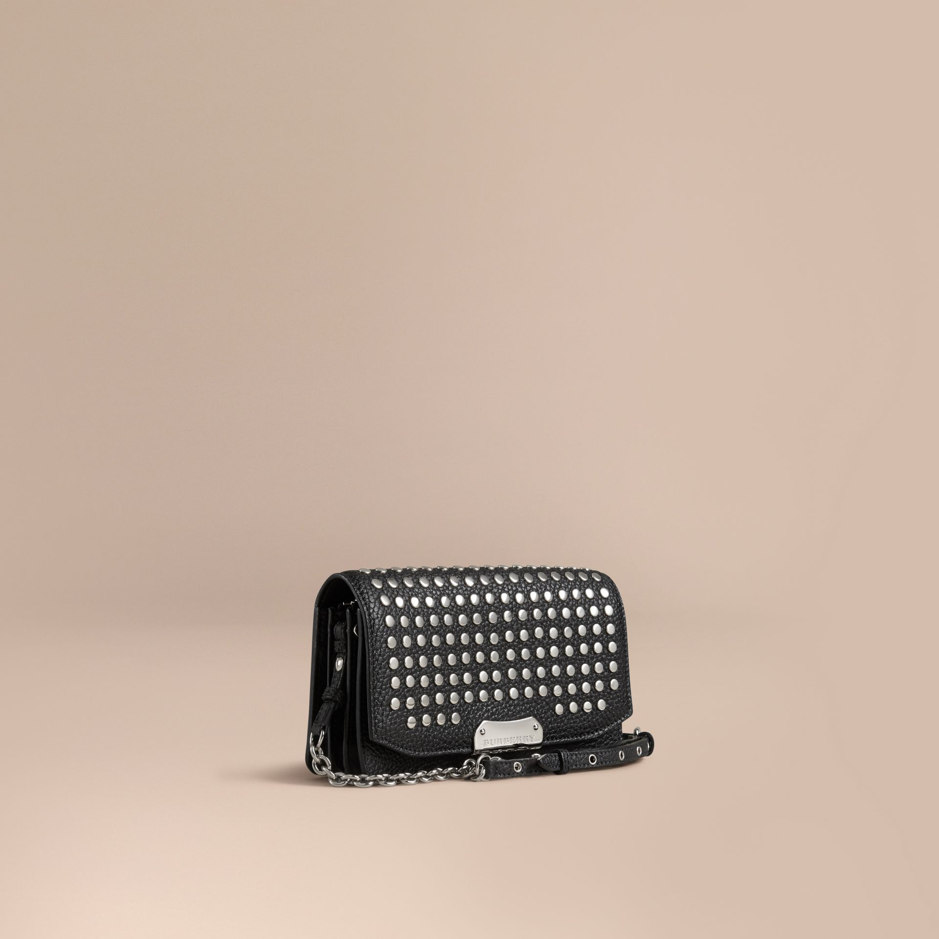 Black Studded Leather Clutch Bag with Chain - gallery image 1
