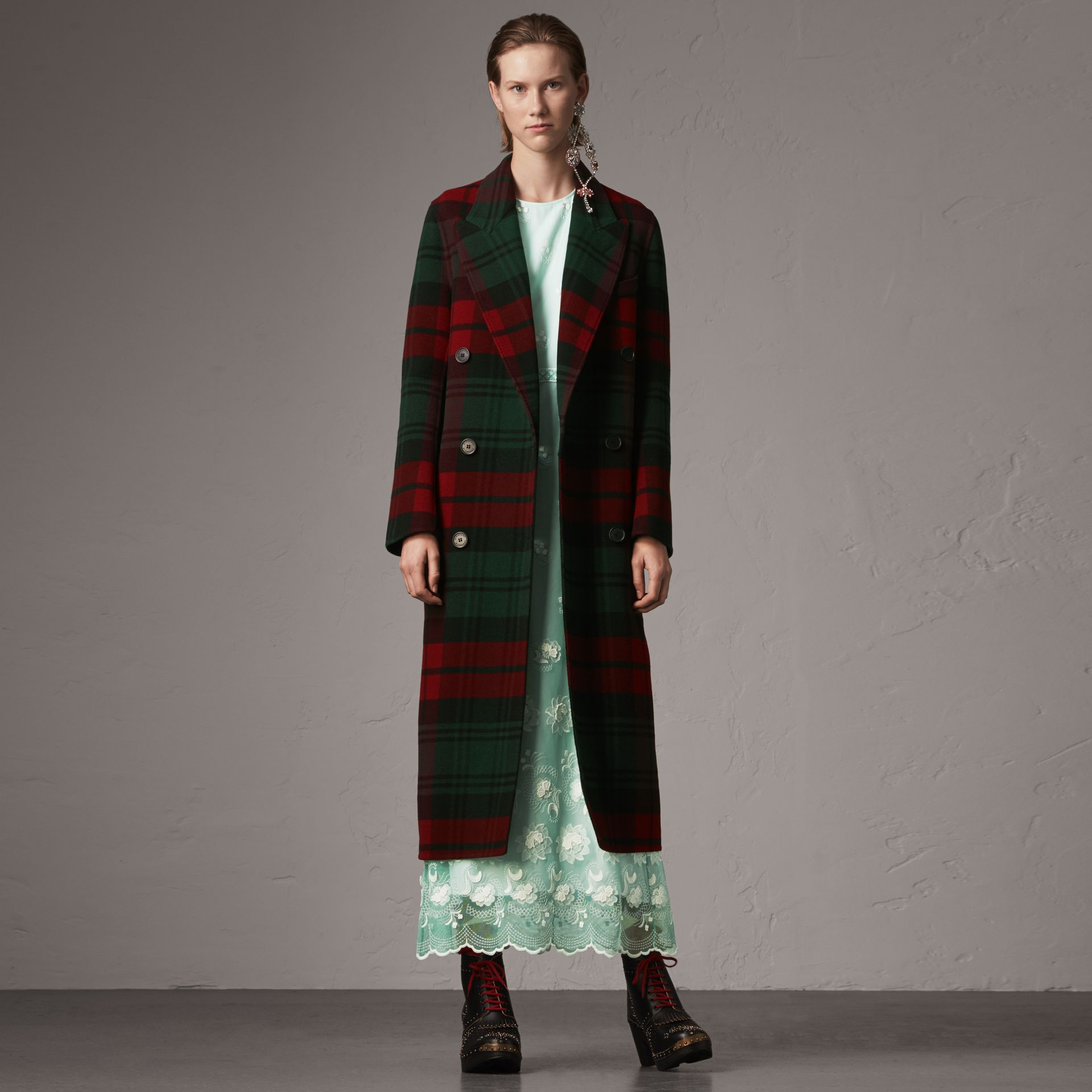 Tartan Wool Double-breasted Coat in Racing Green/dark Crimson - Women | Burberry - gallery image 0