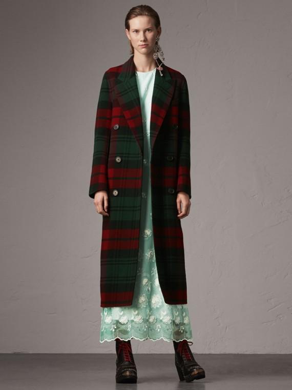 Tartan Wool Double-breasted Coat in Racing Green/dark Crimson