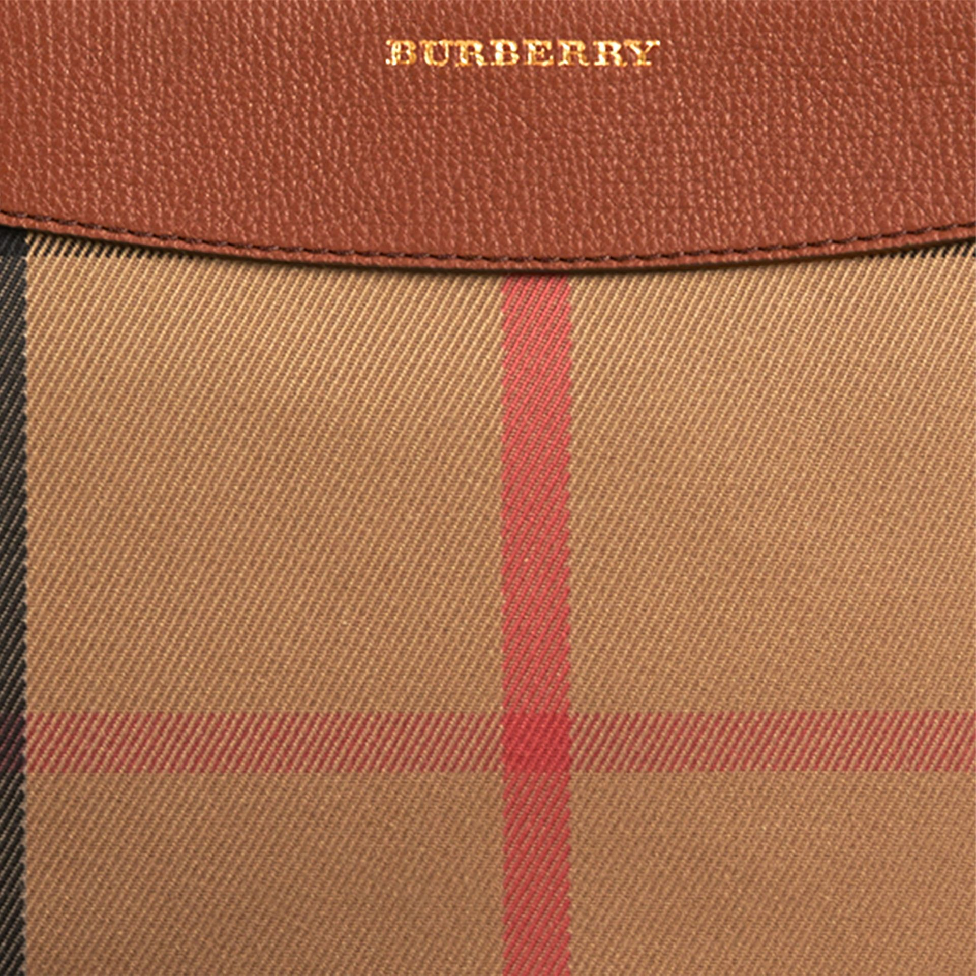 House Check and Leather Clutch Bag in Tan - Women | Burberry Canada - gallery image 2