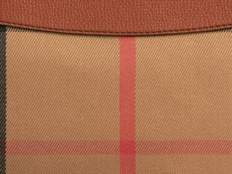 House Check and Leather Clutch Bag in Tan - Women | Burberry Canada - cell image 1