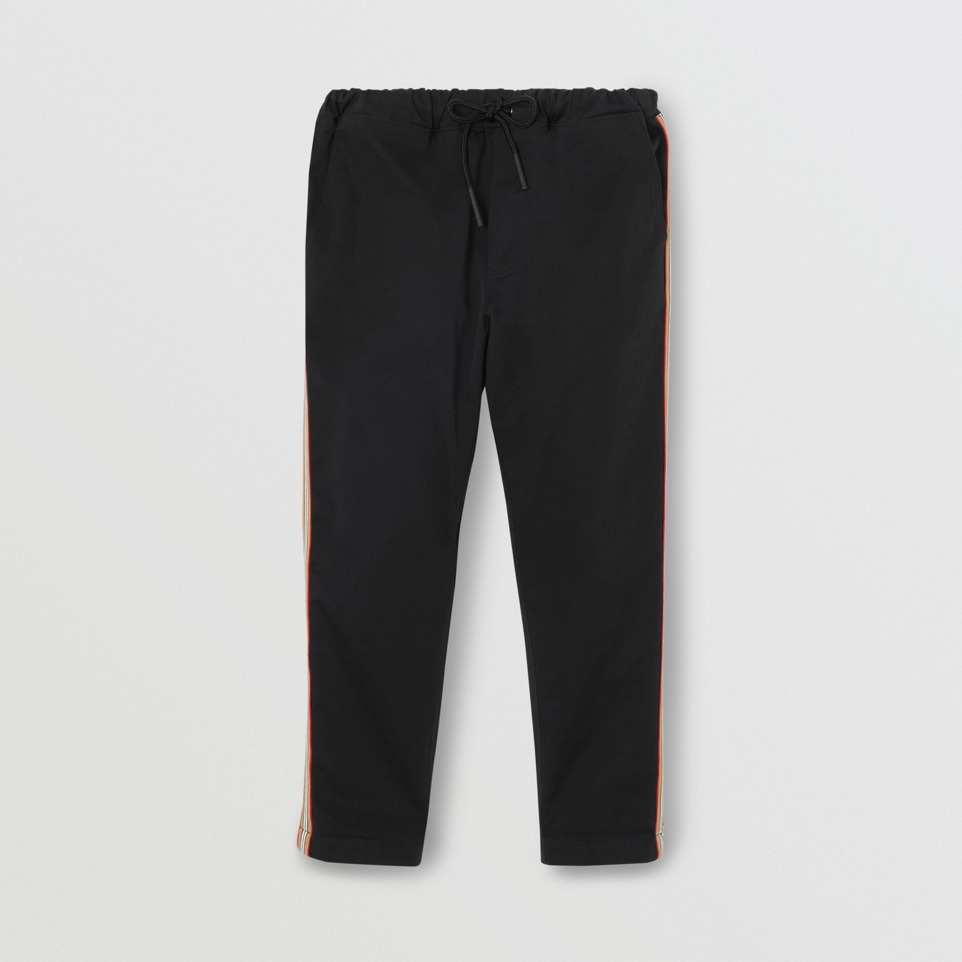 Pantalon chino en coton à rayures iconiques (Noir) | Burberry Canada - photo de la galerie 0