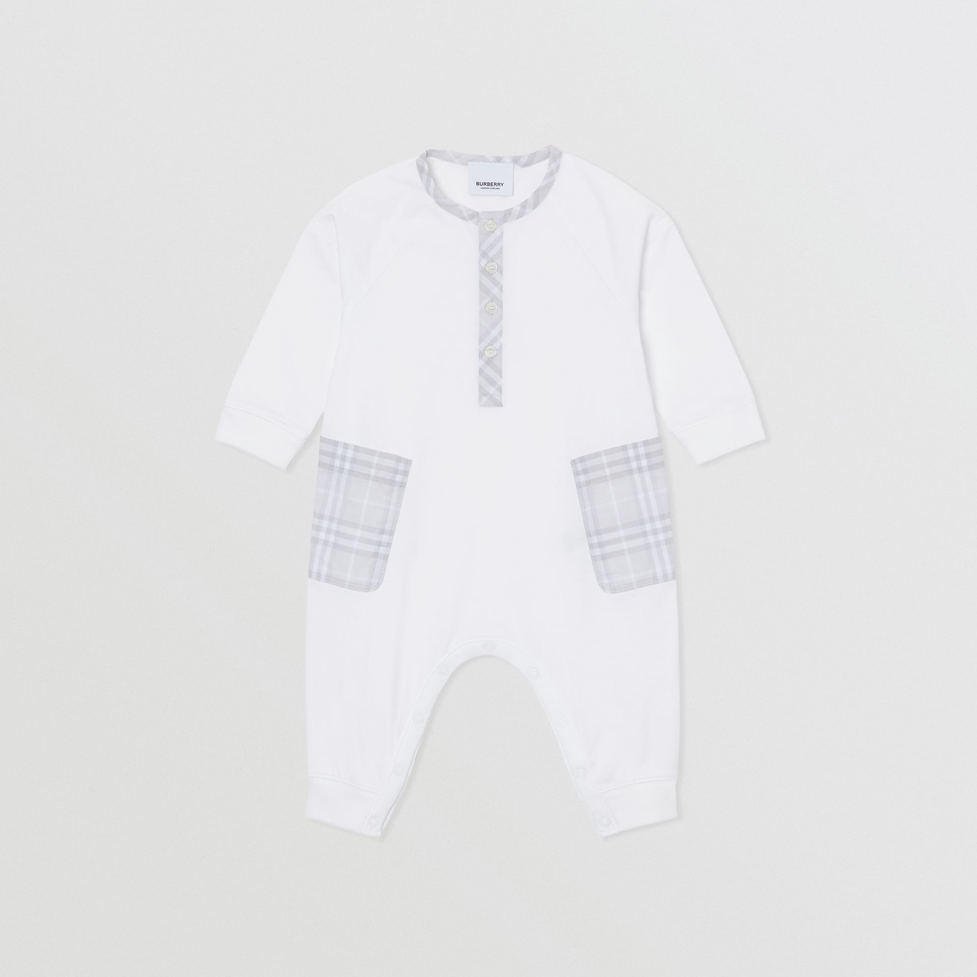 Check Trim Cotton Jumpsuit in White - Children | Burberry Singapore - gallery image 0