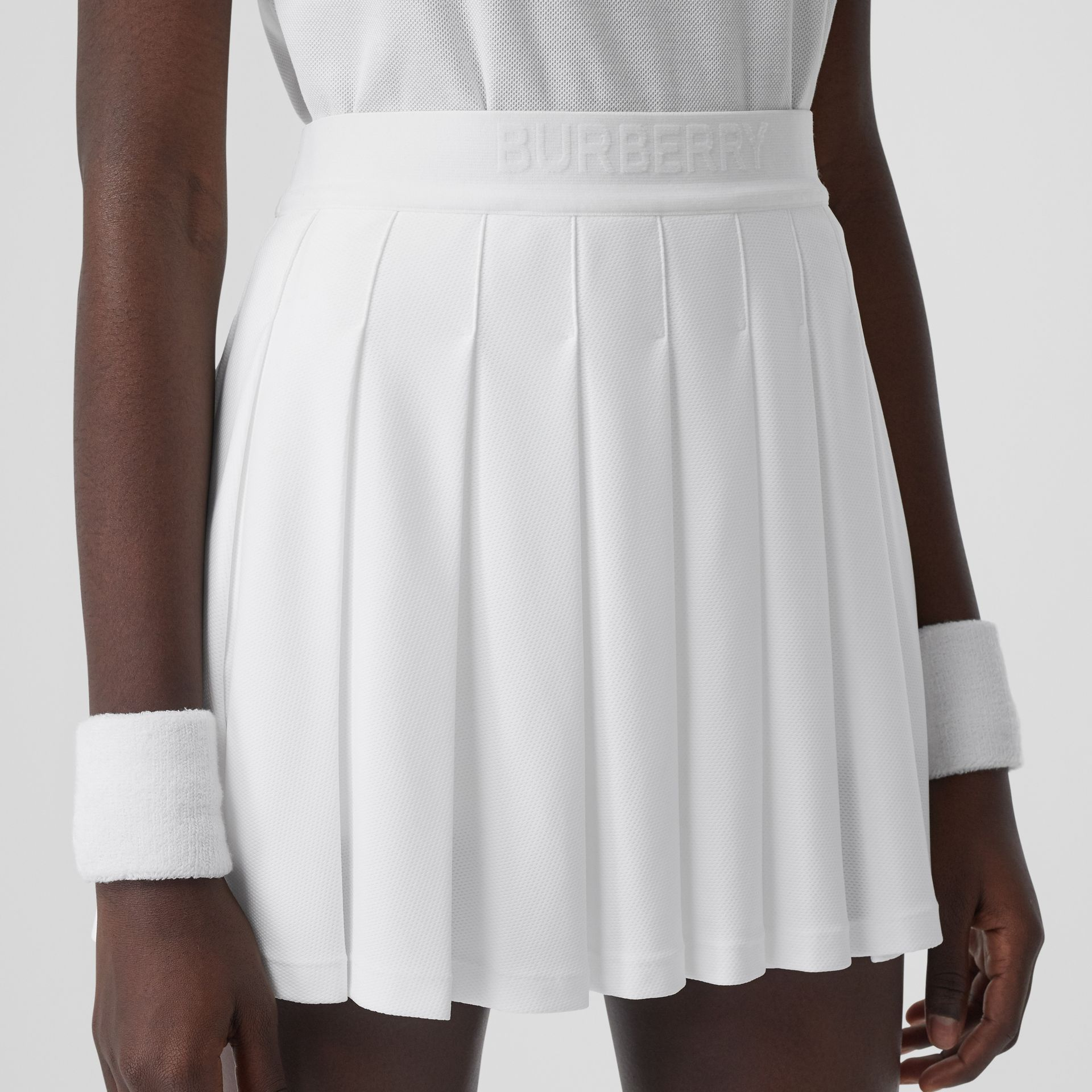 Pleated Jersey Tennis Skirt in White - Women | Burberry Canada - gallery image 5