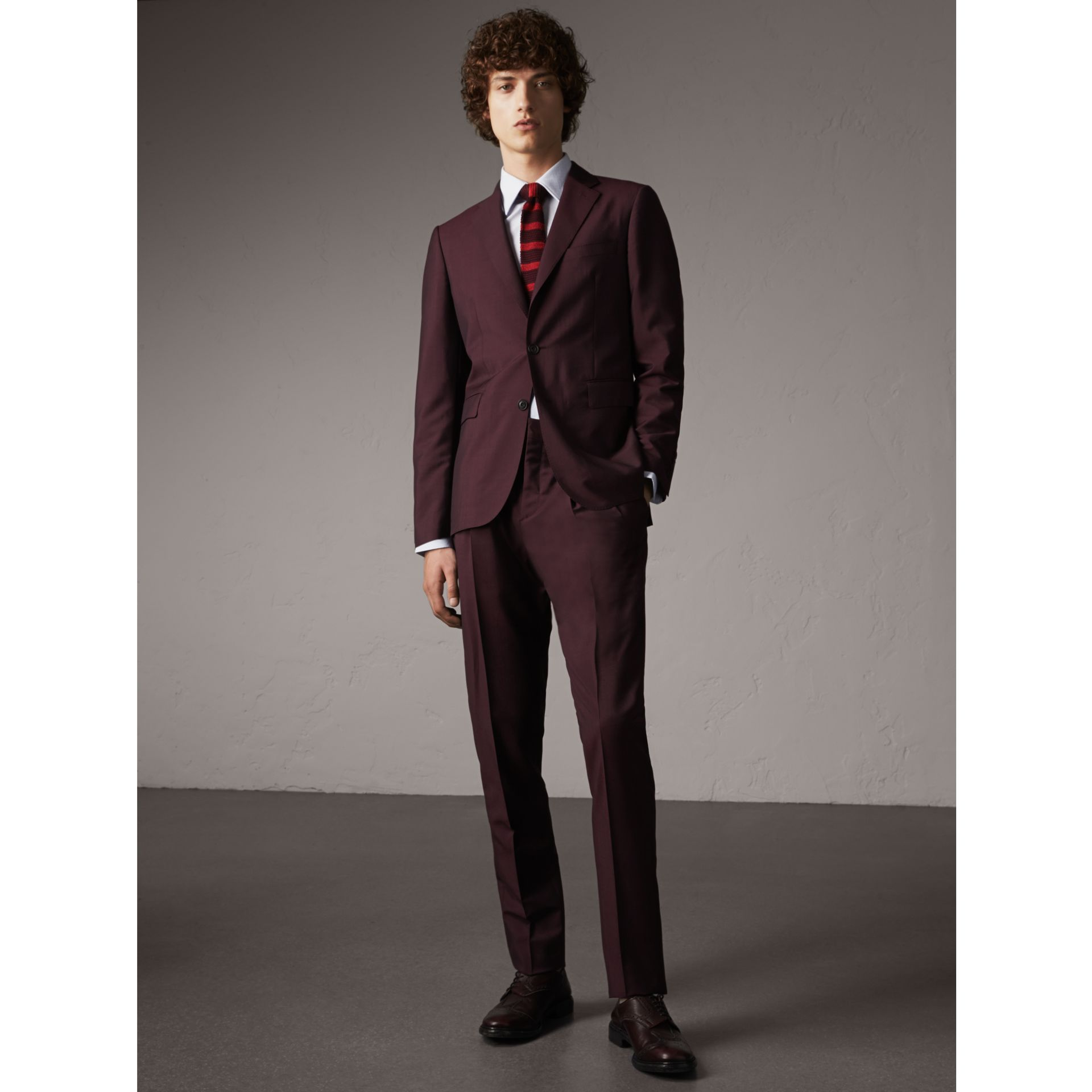 Soho Fit Wool Mohair Suit in Oxblood - Men | Burberry - gallery image 0