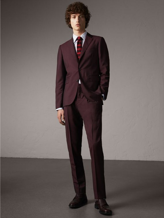 Slim Fit Wool Mohair Suit in Oxblood - Men | Burberry