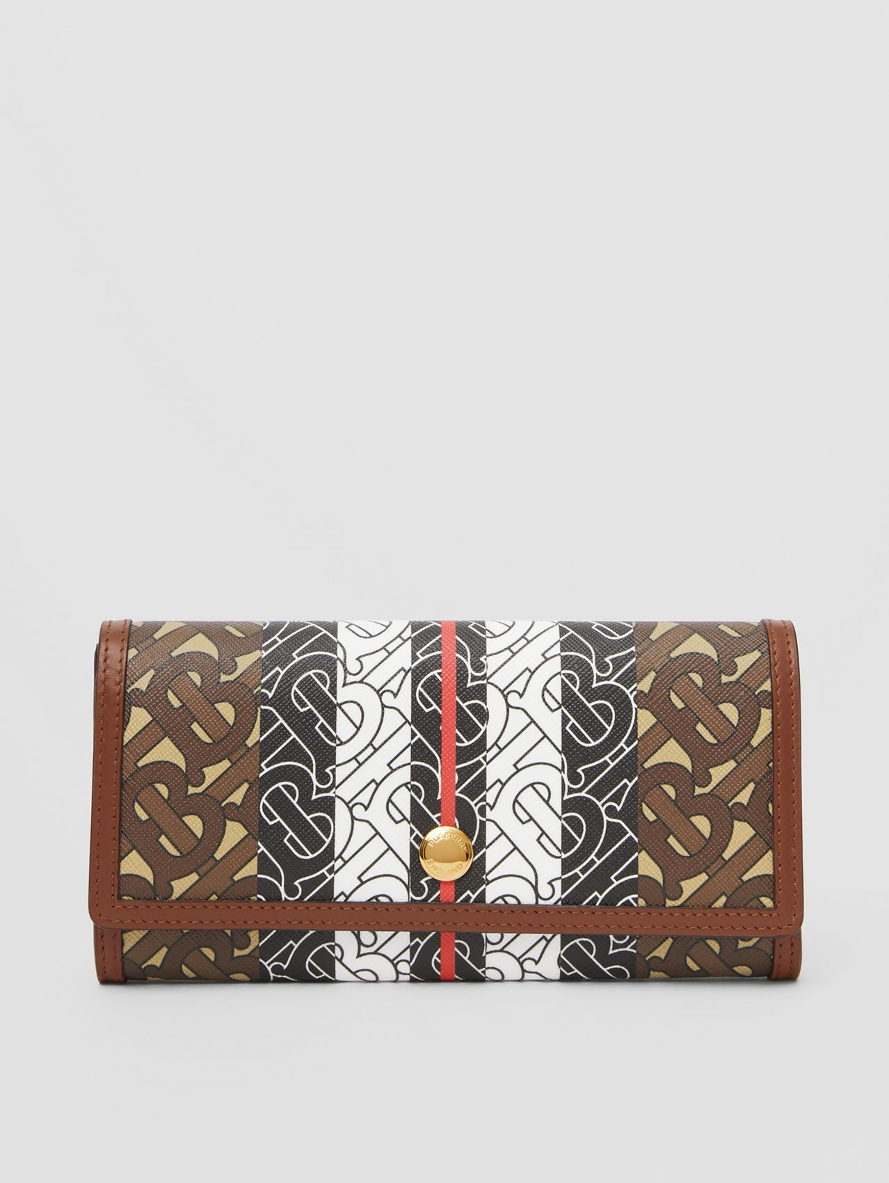 Monogram Stripe E-canvas Continental Wallet in Bridle Brown