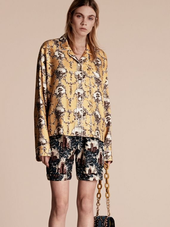 Wallpaper Print Silk Twill Pyjama-style Shirt