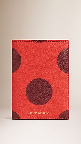 Dot Print Grainy Leather Passport Cover