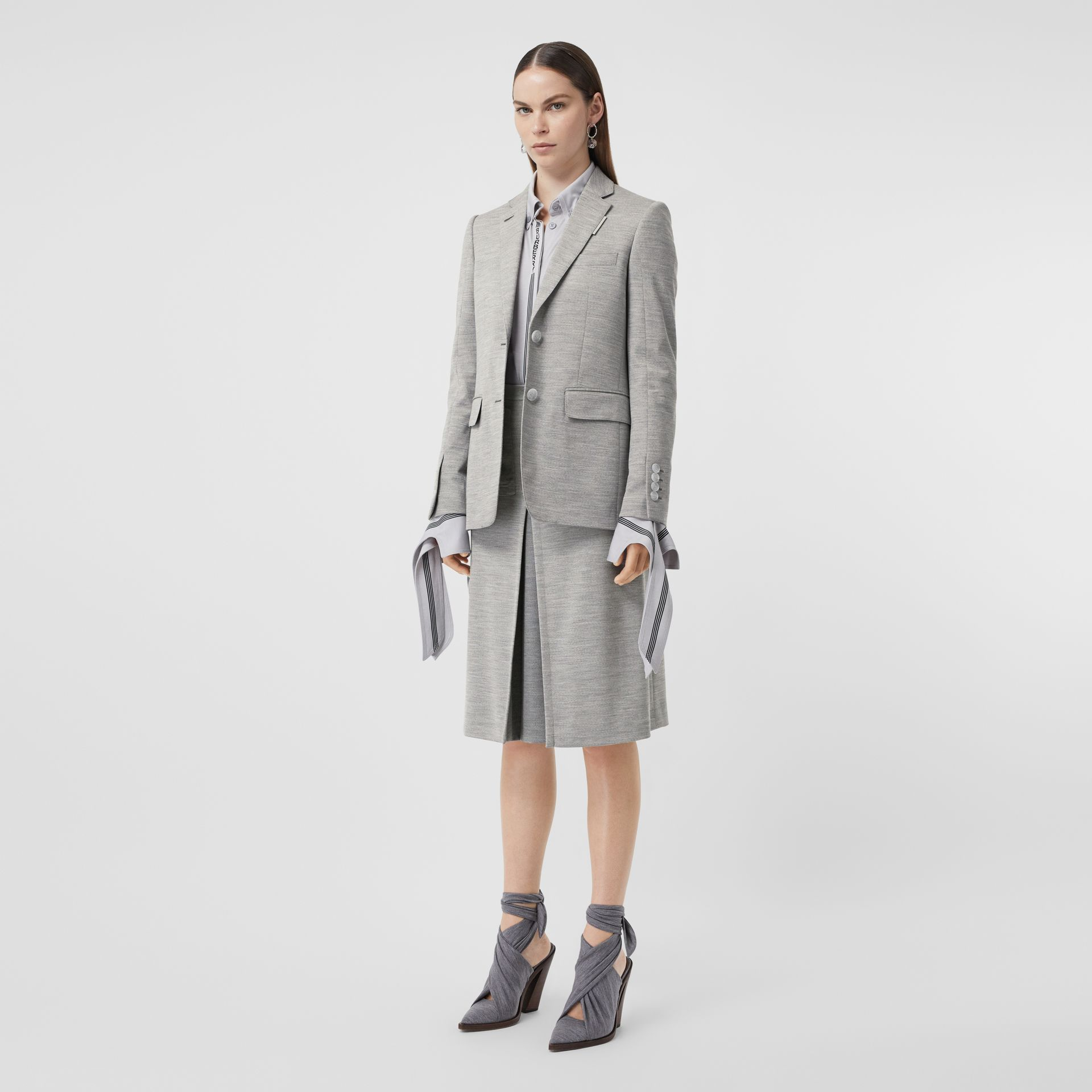 Technical Wool Jersey Blazer in Grey Taupe Melange - Women | Burberry - gallery image 0