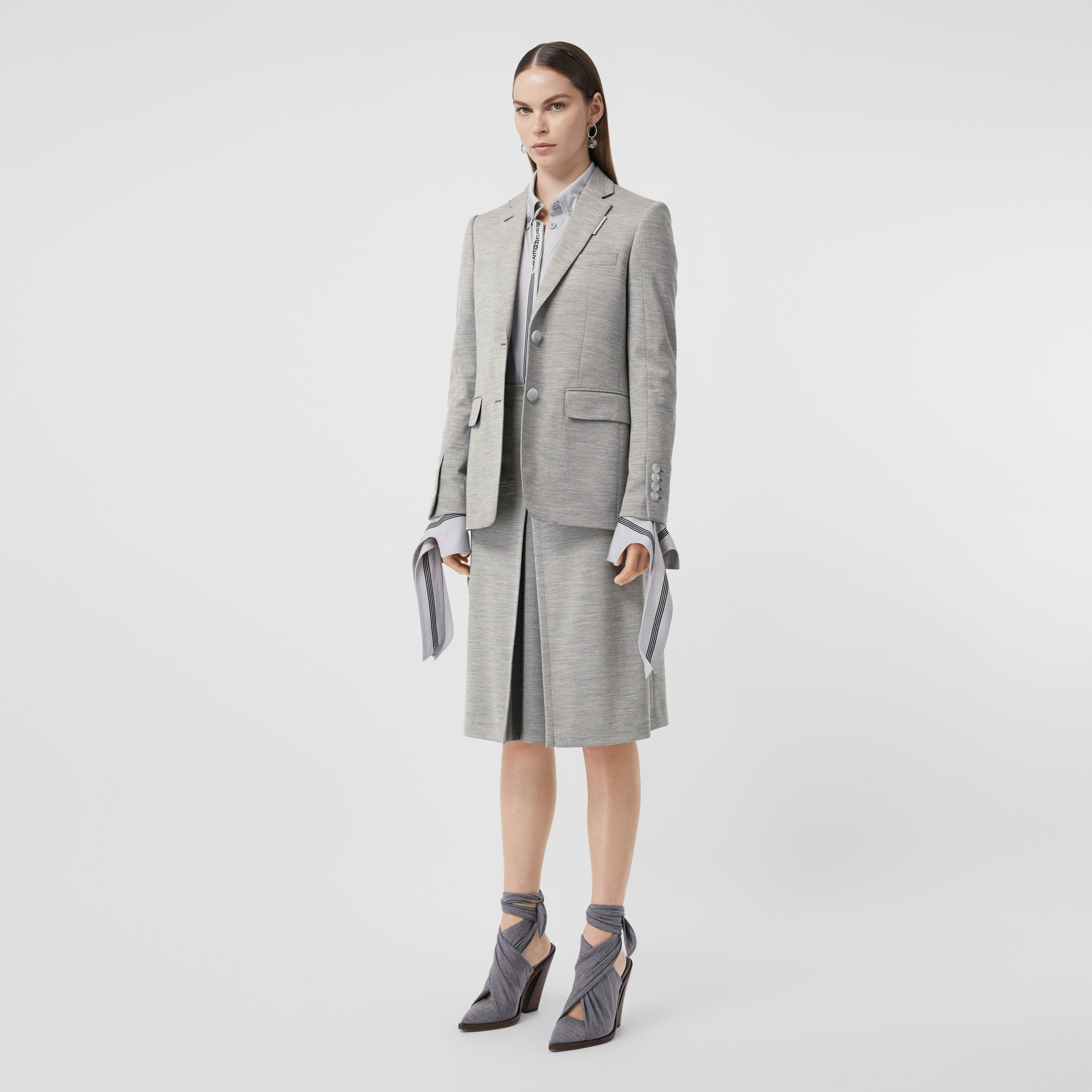 Technical Wool Jersey Blazer in Grey Taupe Melange - Women | Burberry - 1