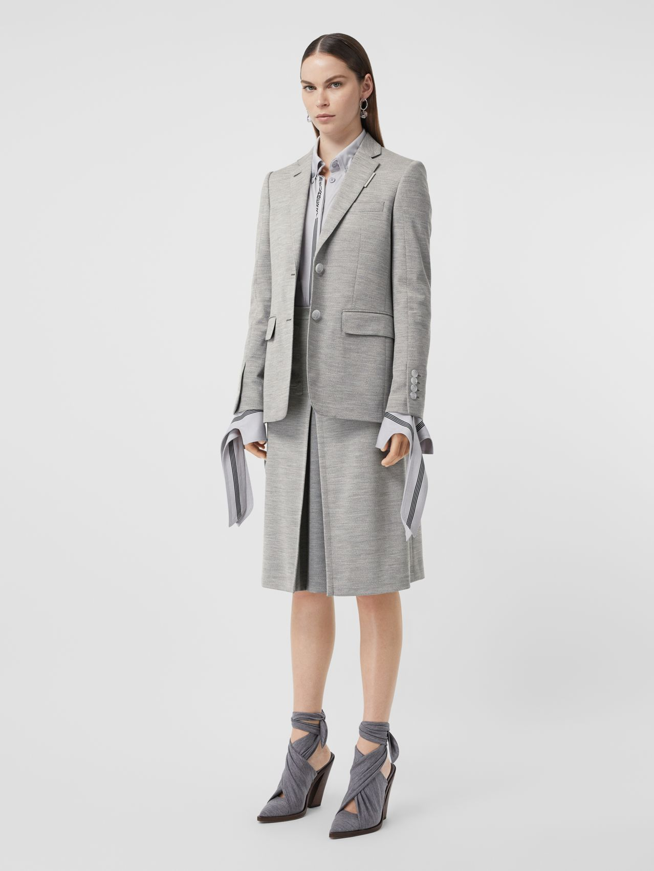 Technical Wool Jersey Blazer in Grey Taupe Melange