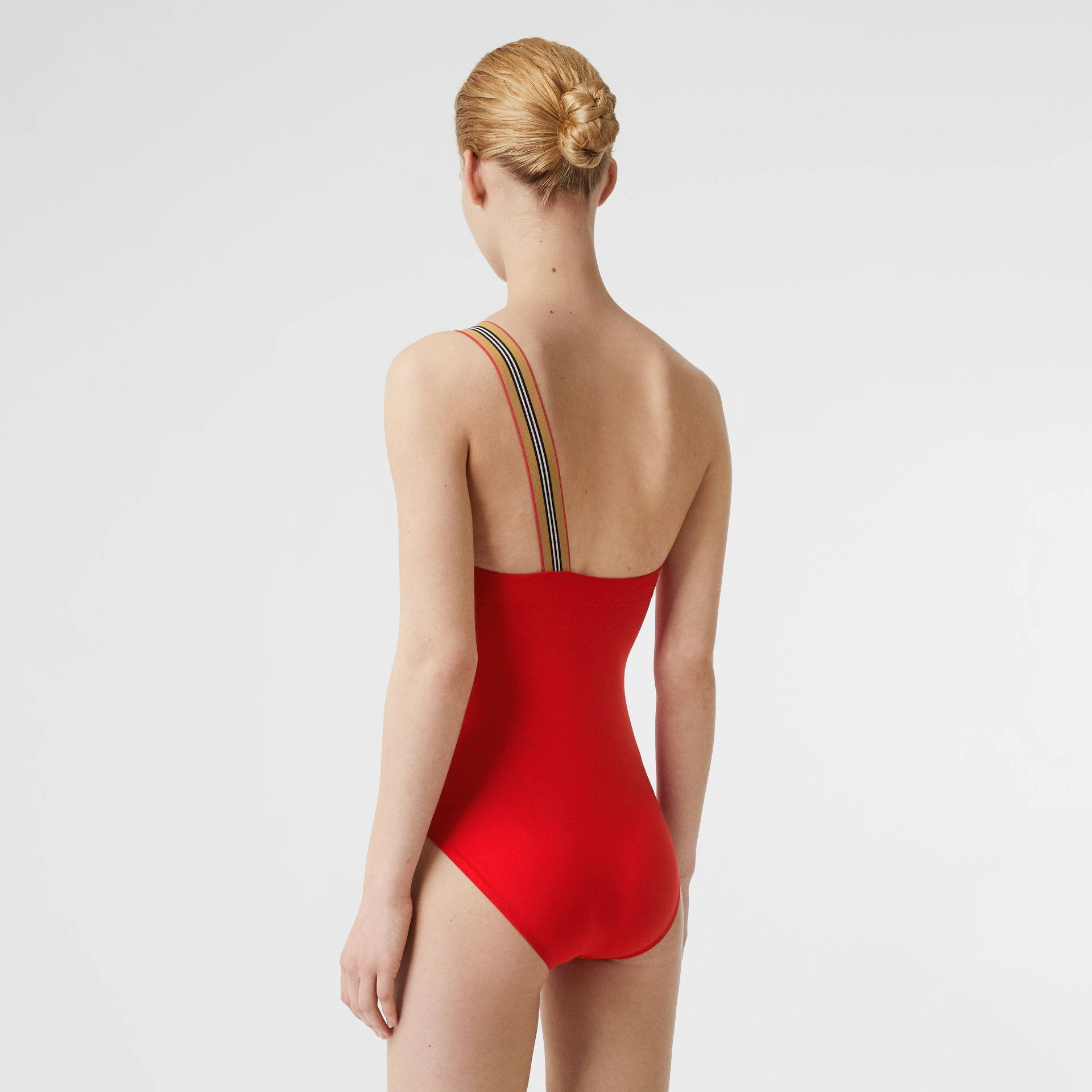 Icon Stripe Detail Swimsuit in Bright Red - Women | Burberry - gallery image 1