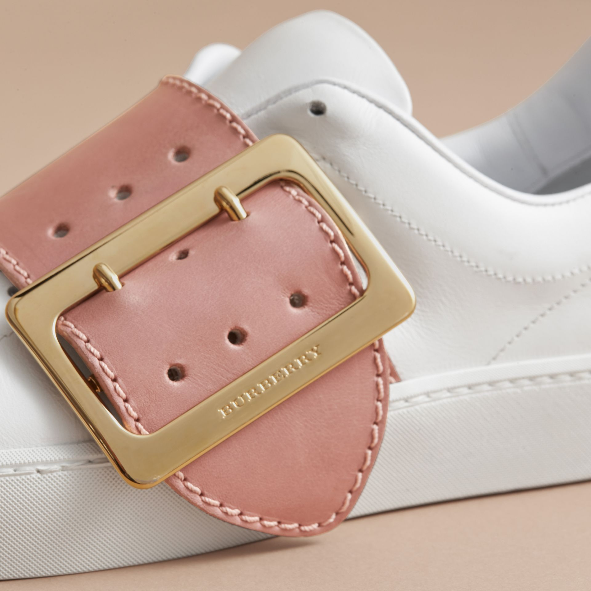 Buckle Detail Leather Trainers in Pink Apricot - Women | Burberry Canada - gallery image 2