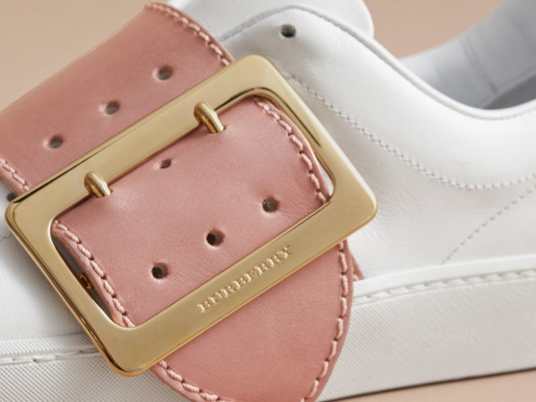 Buckle Detail Leather Trainers in Pink Apricot - Women | Burberry - cell image 1