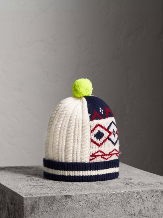 Pom-pom Wool Cashmere Patchwork Beanie in Natural White