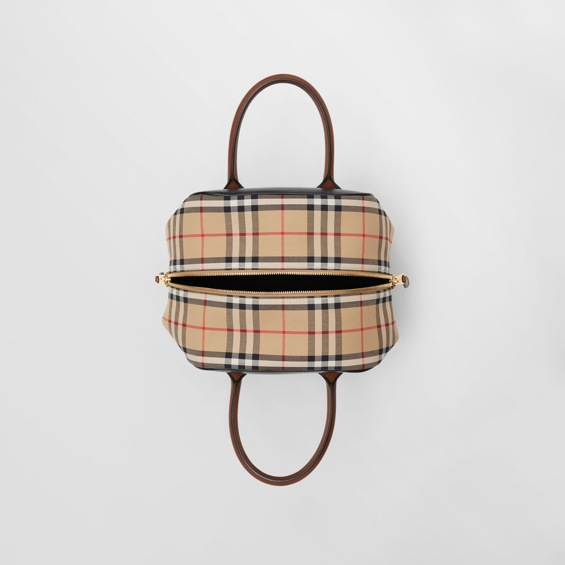 Small Leather and Vintage Check Cube Bag in Archive Beige - Women | Burberry - gallery image 3