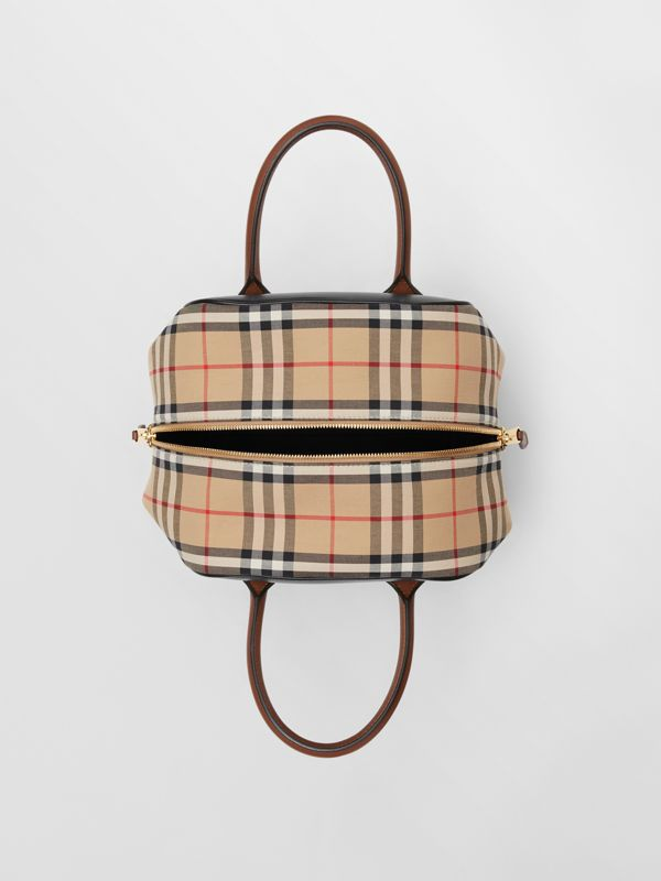 Small Leather and Vintage Check Cube Bag in Archive Beige - Women | Burberry - cell image 3