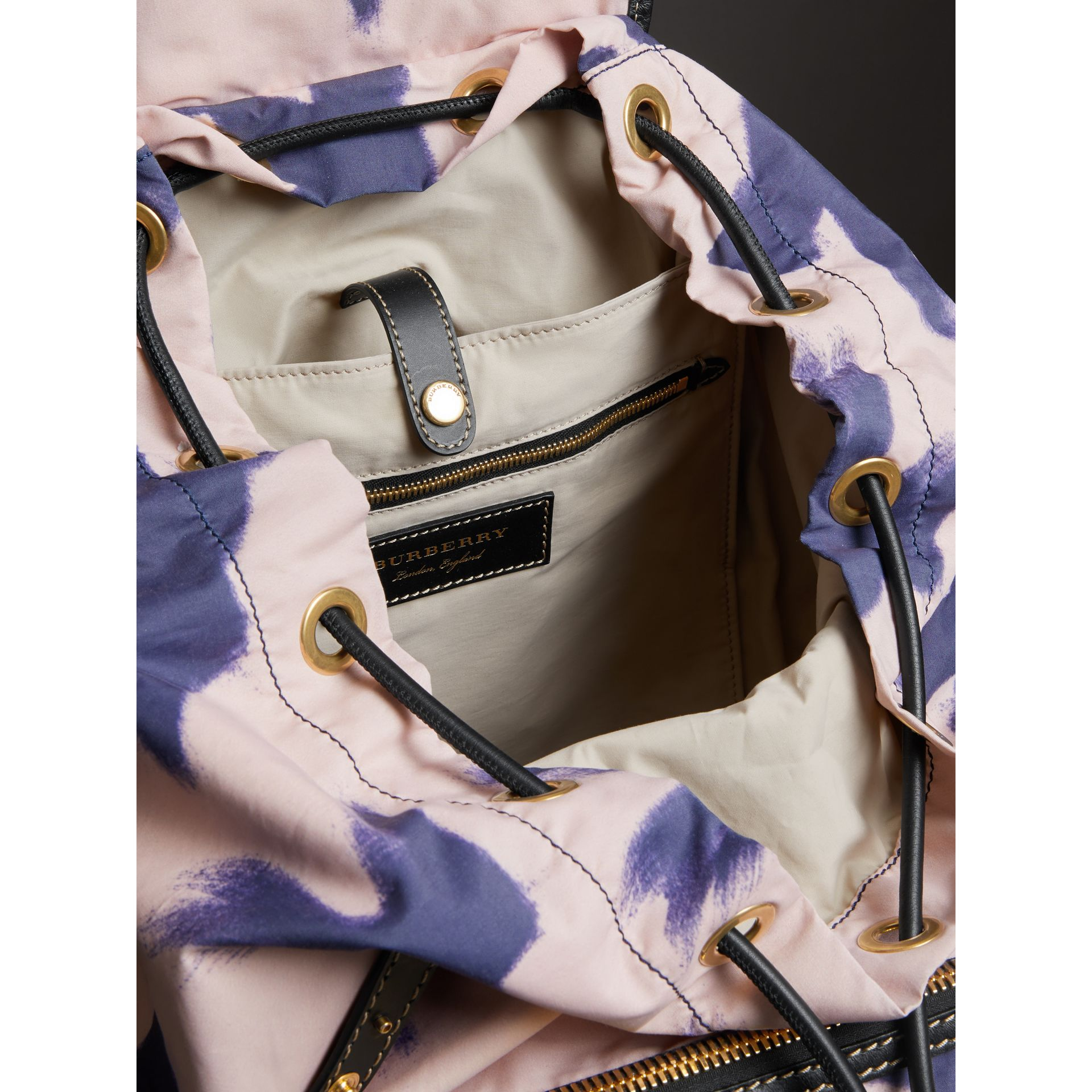 The Large Rucksack in Bird Print Canvas and Leather in Multicolour - Men | Burberry United States - gallery image 5