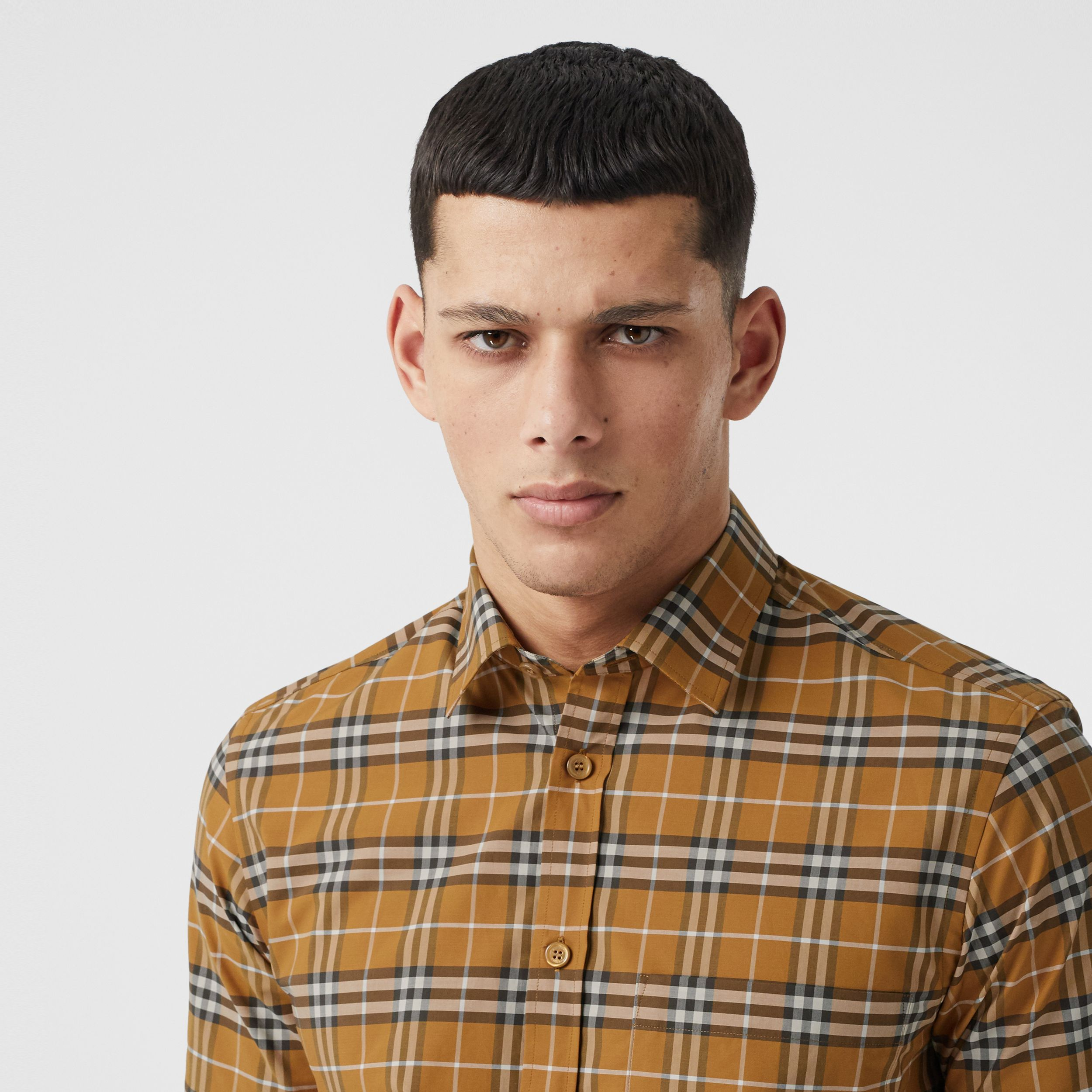 Short-sleeve Small Scale Check Stretch Cotton Shirt in Bright Toffee - Men | Burberry - 2