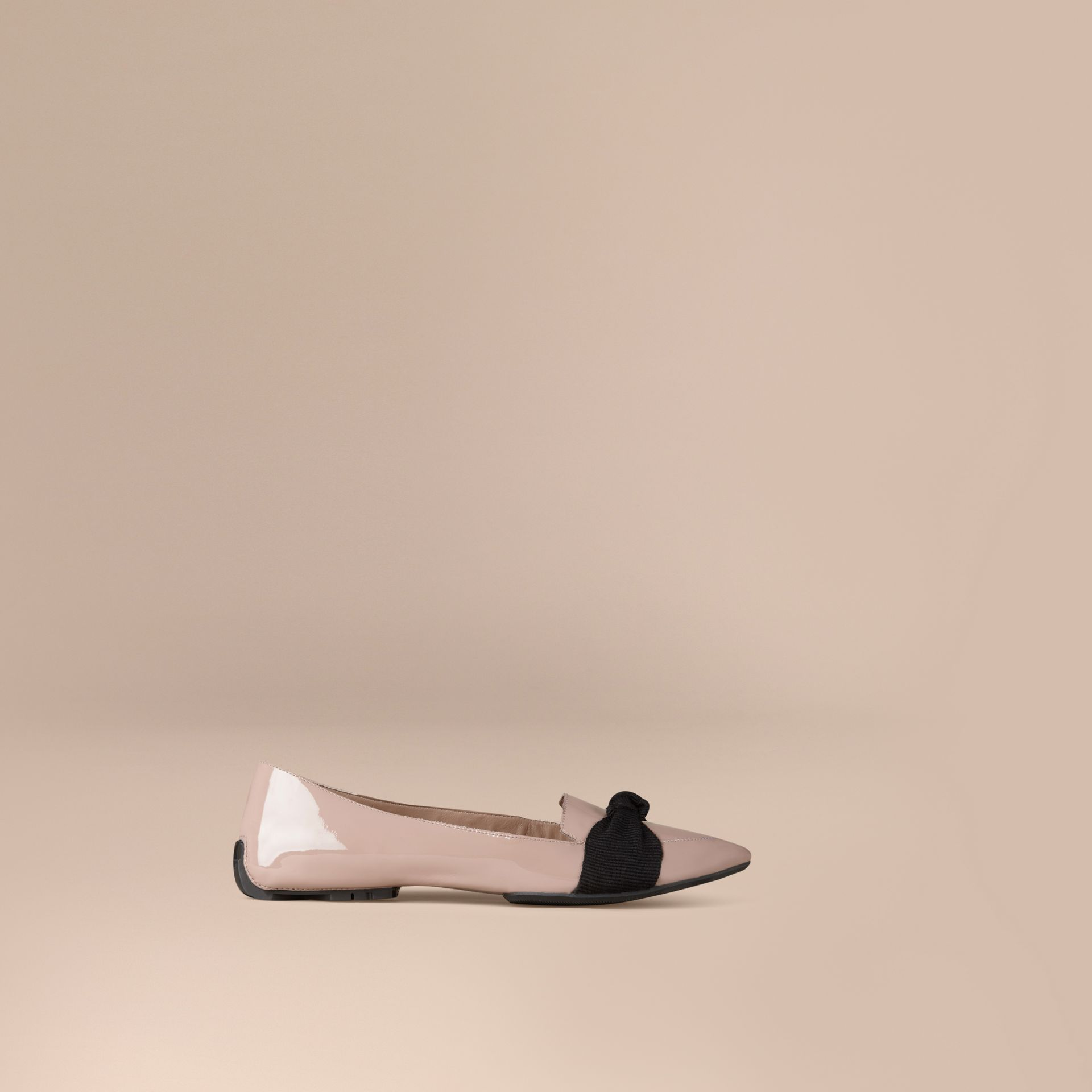 Patent Leather Loafers with Grosgrain Bow Sandstone - gallery image 1