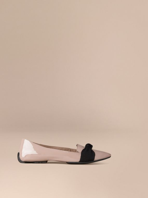Grosgrain Bow Patent Leather Loafers in Sandstone
