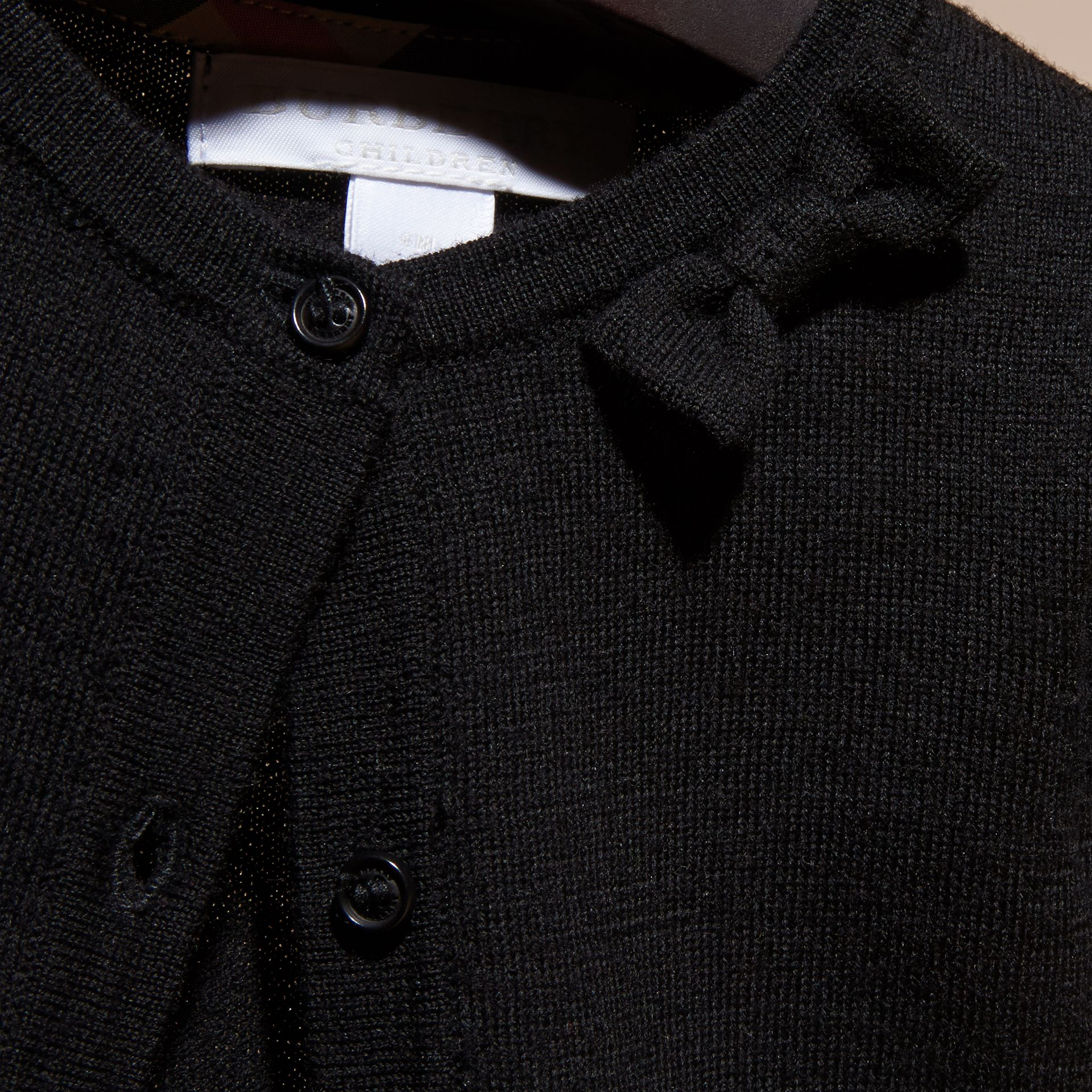 Black Lightweight Merino Wool Cardigan Black - gallery image 2