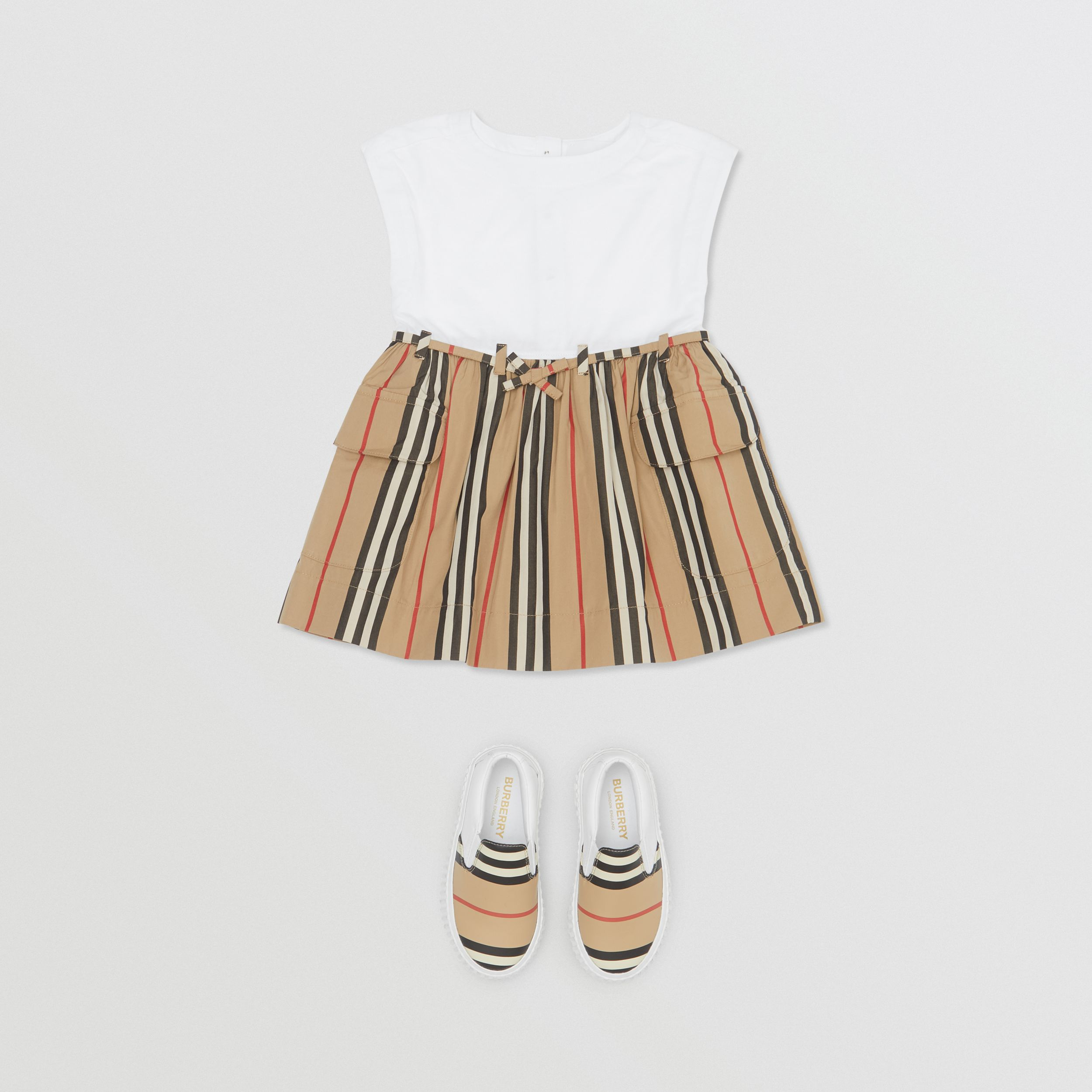 Icon Stripe Cotton Dress in White/archive Beige - Children | Burberry - 3