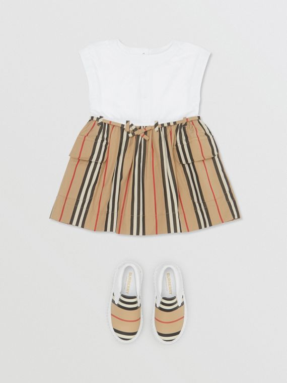 Icon Stripe Cotton Dress in White/archive Beige