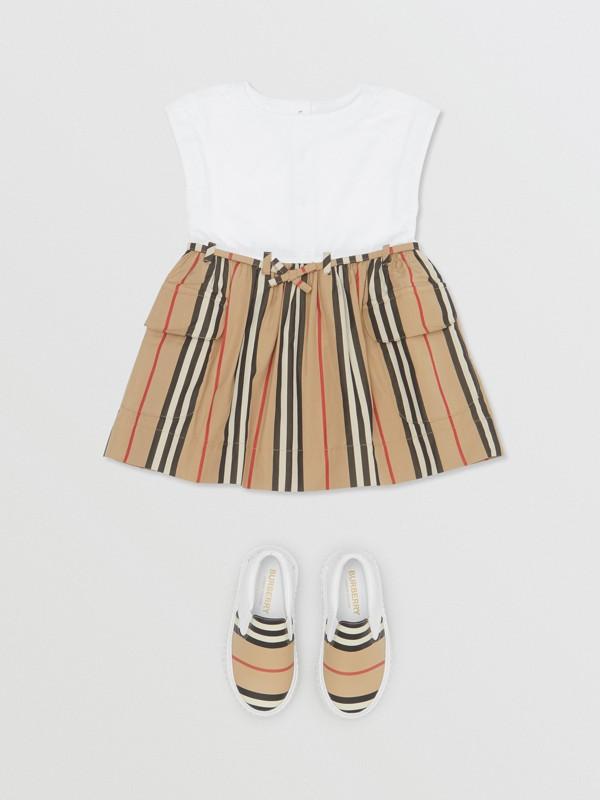 Icon Stripe Cotton Dress in White/archive Beige - Children | Burberry - cell image 2