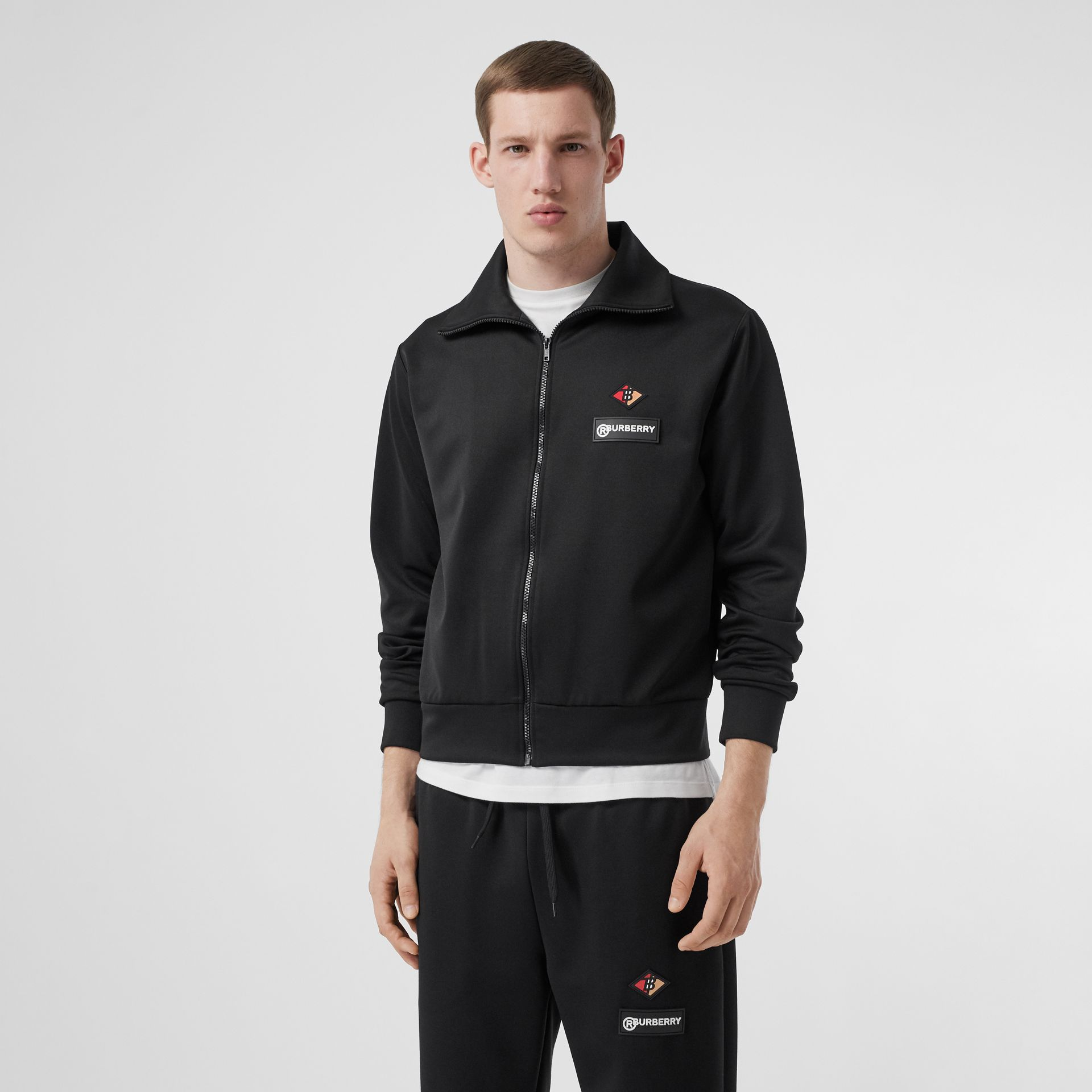 Logo Graphic Jersey Funnel Neck Track Top in Black - Men | Burberry - gallery image 4