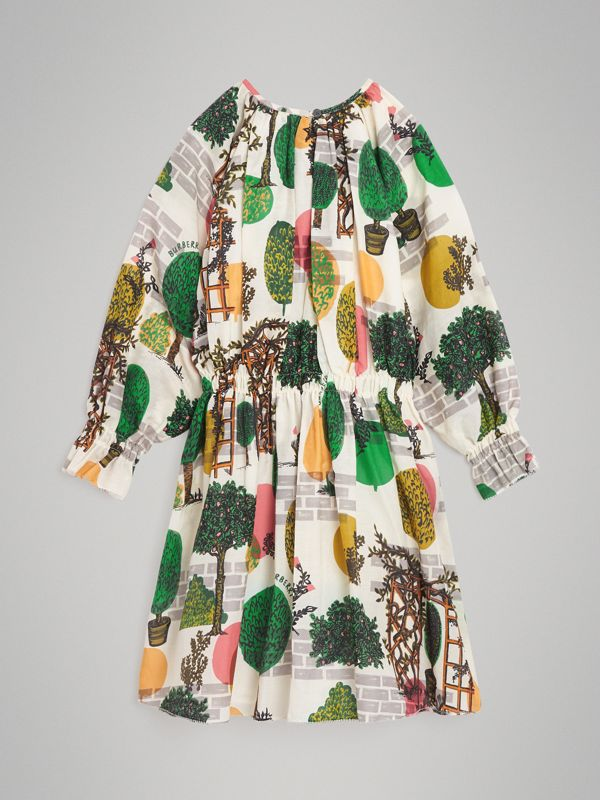 Tree Print Cotton Silk Dress in Natural White | Burberry - cell image 3