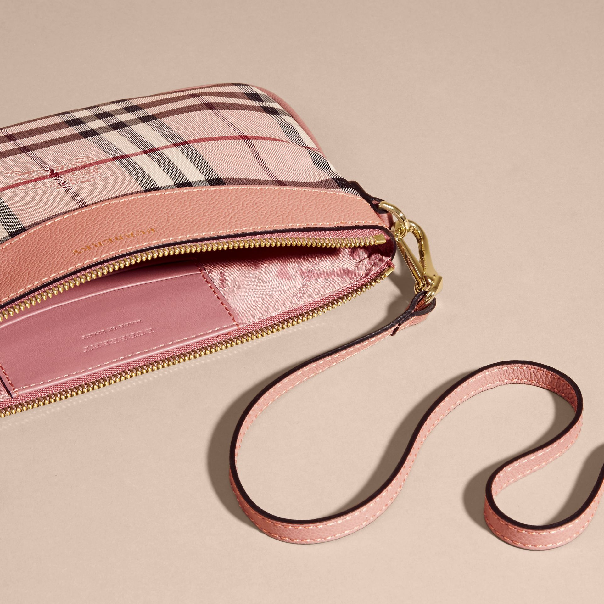 Horseferry Check and Leather Clutch Bag Ash Rose/ Dusty Pink - gallery image 6