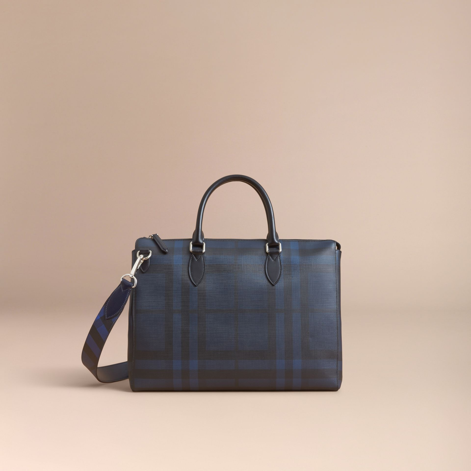 Large London Leather Briefcase Dark Navy - gallery image 8