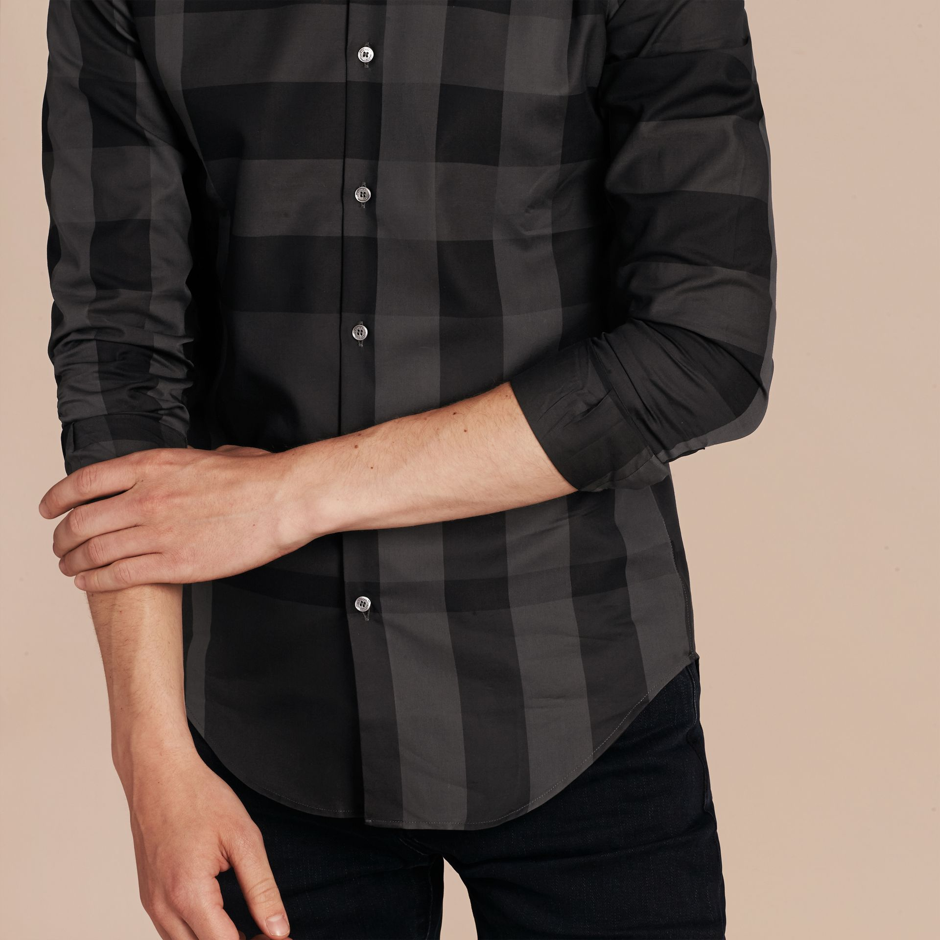 Charcoal Check Cotton Shirt Charcoal - gallery image 5