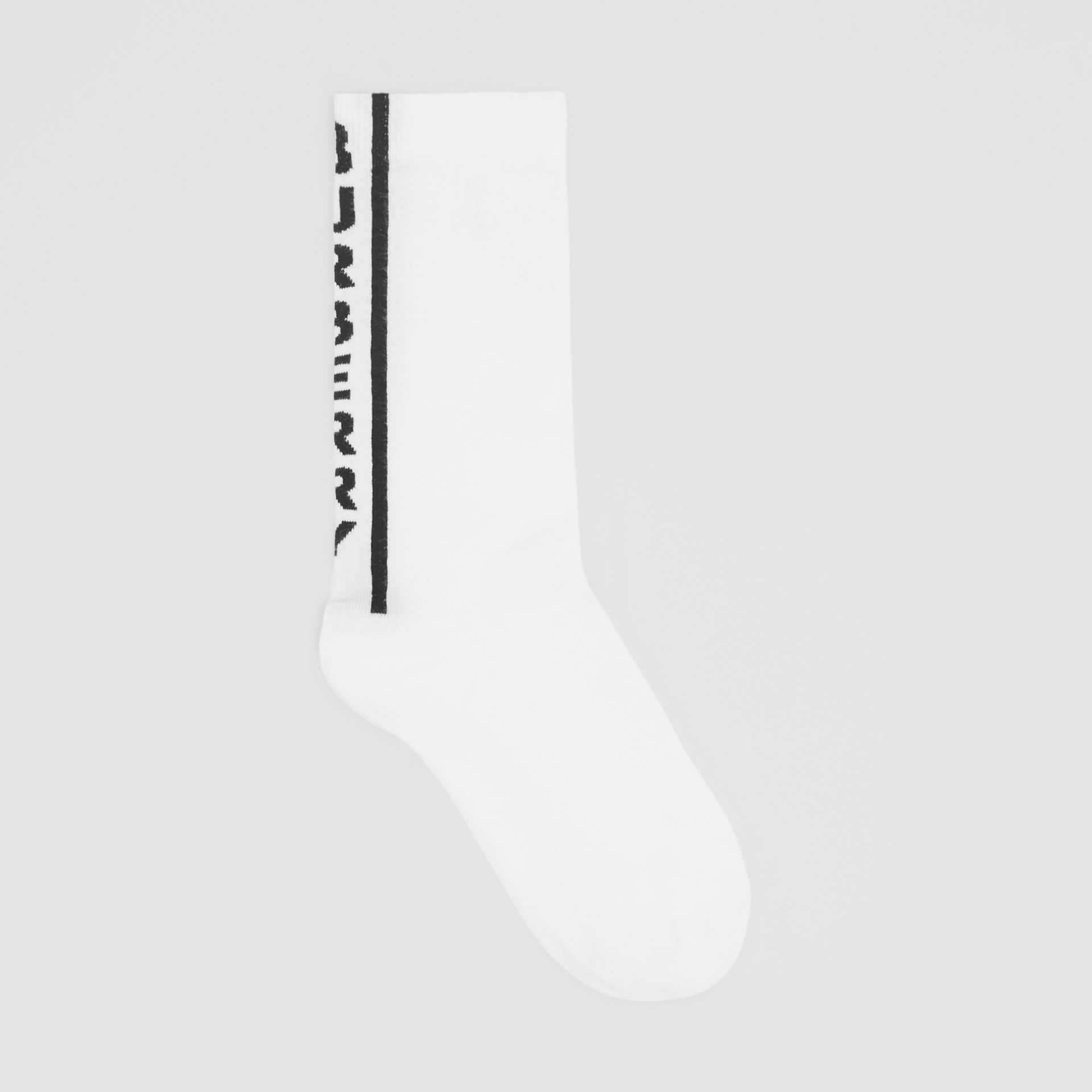 Logo Intarsia Cotton Blend Socks in Black/white | Burberry - gallery image 0