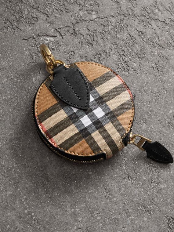 Vintage Check and Leather Coin Case in Black