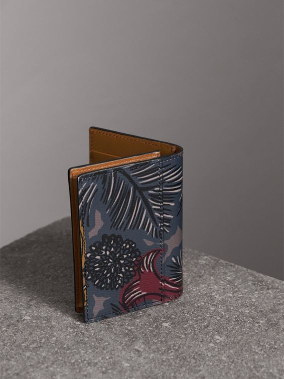 Beasts Print Leather Folding Card Case in Navy Grey - Men | Burberry - cell image 2