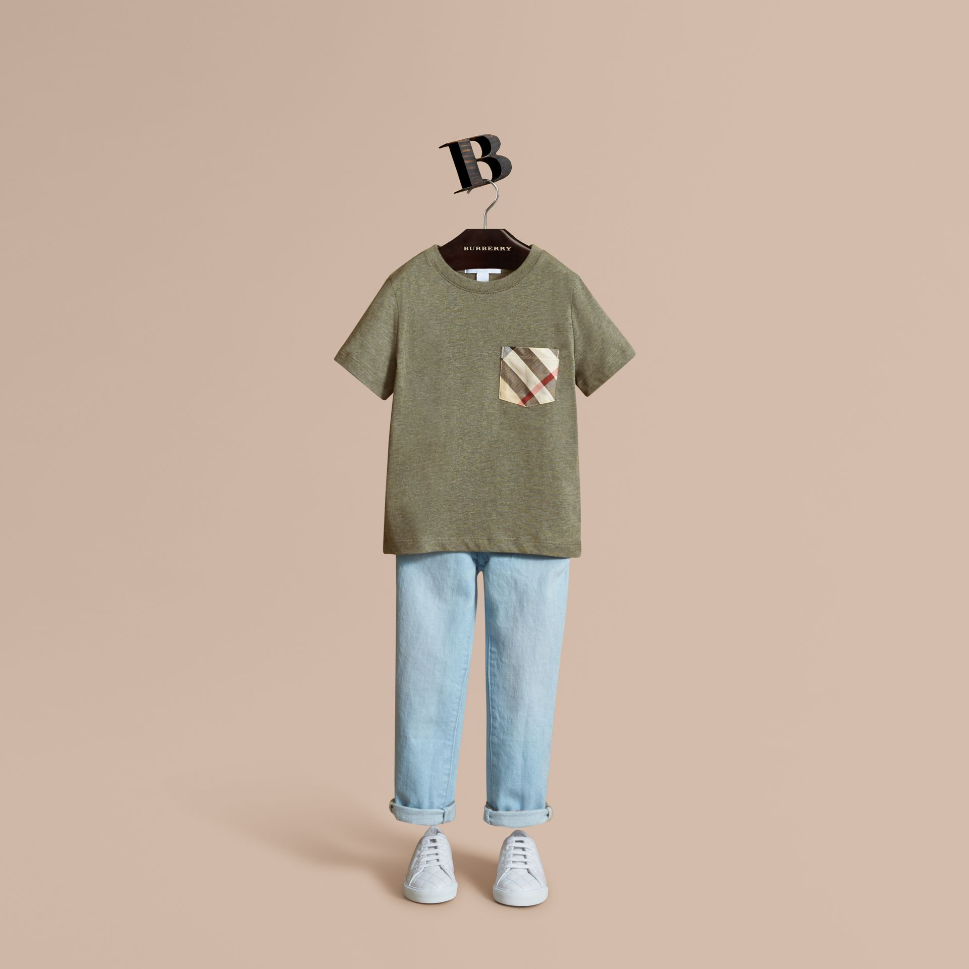 Check Pocket Cotton T-shirt in Khaki Green | Burberry - gallery image 1