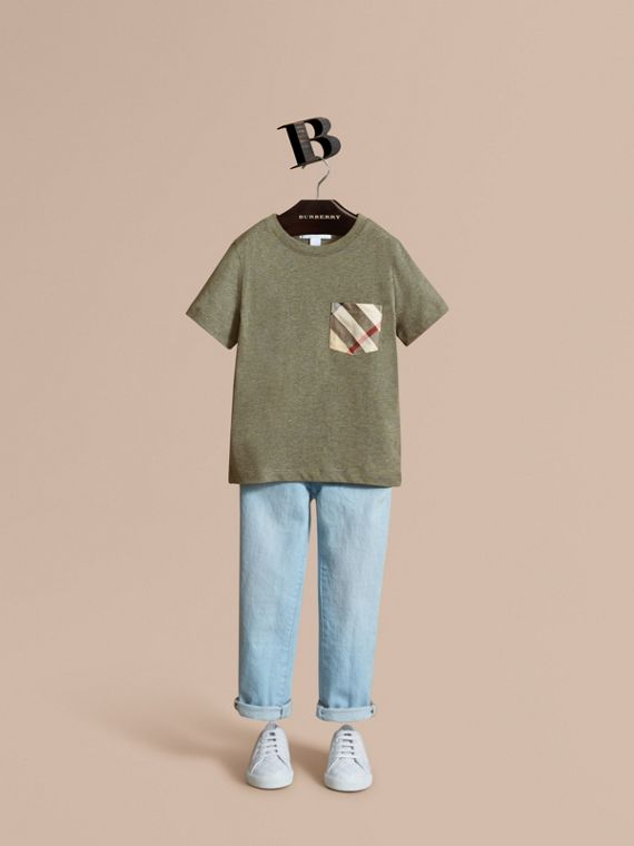 Check Pocket Cotton T-shirt in Khaki Green
